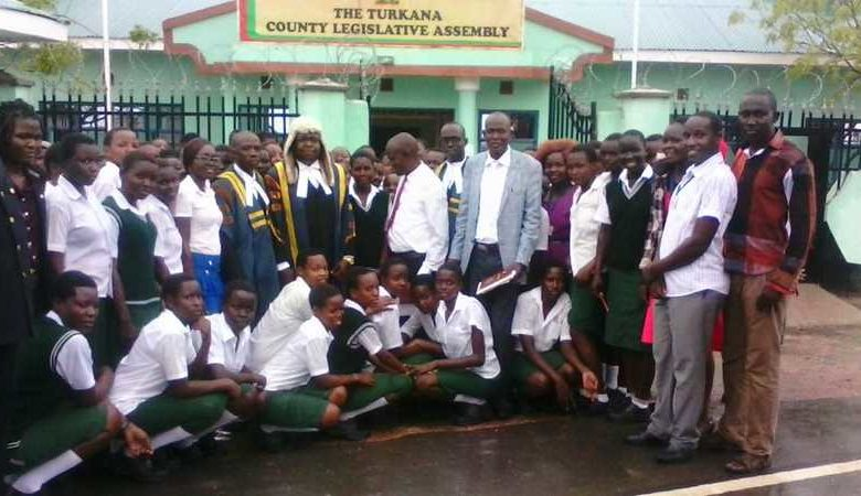 A school visits the County Assembly of Turkana